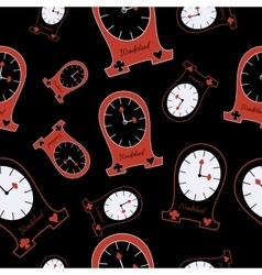 Seamless Alice Clocks from Wonderland vector image