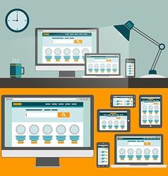 Set of flat design concepts Concepts for online vector image