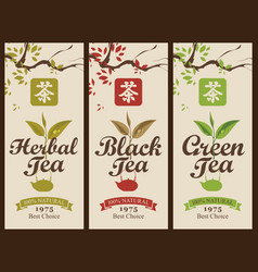 set of labels for the black green and herbal tea vector image