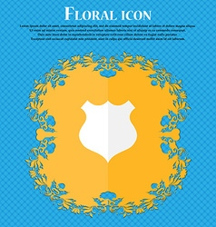 shield icon sign Floral flat design on a blue vector image