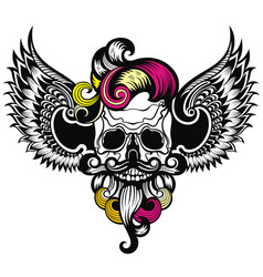 Skull with a wings vector