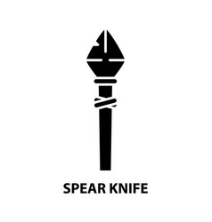 Spear knife icon black sign with editable vector