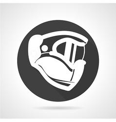 Sport helmet black round icon vector