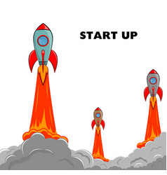 Start up rocket ship vector