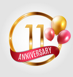 Template gold logo 11 years anniversary with vector