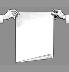 two hands with a paper sheet concept business vector image