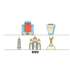 Ukraine kiev flat landmarks vector
