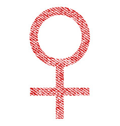 Venus female symbol fabric textured icon vector