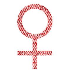 Venus female symbol fabric textured icon vector