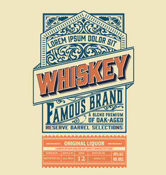 vintage liquor label layered vector image