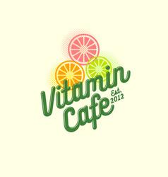 vitamin cafe logo smoothie detox juice health vector image