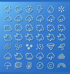 Weather line icon set vector
