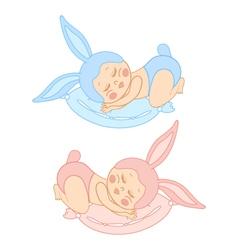 small sleeping baby in bunny costume vector image