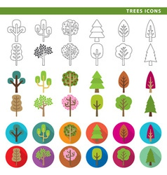 trees icons vector image vector image