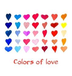 Watercolor hearts set background vector image vector image