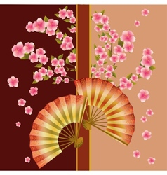 Background with fan and sakura blossom - Japanese vector image vector image