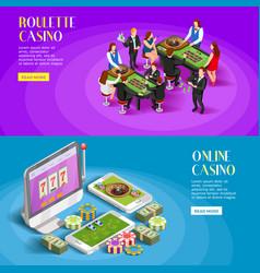 casino isometric banners set vector image vector image