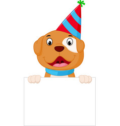 happy dog cartoon holding blank sign vector image