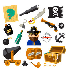 set of pirate and sea elements vector image vector image