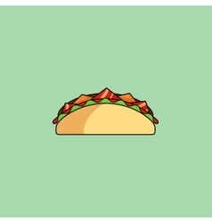 Tacos and burrito shaurma line icon vector image vector image