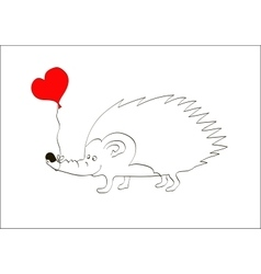 Valentine card with hedgehog with heart frame vector image