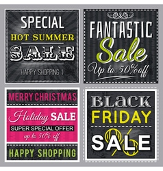 black banners with sale offer vector image vector image
