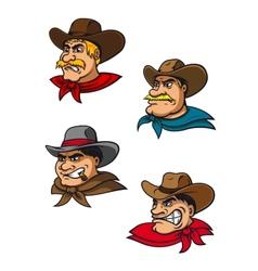 Cartoon western brutal cowboys mascots vector image