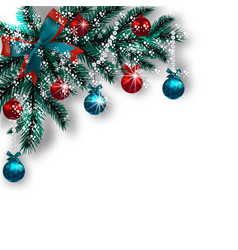 christmas card blue with green tree branches red vector image vector image