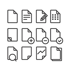 Different documents icons set with rounded corners vector image