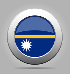 Flag of nauru shiny metal gray round button vector