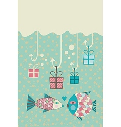 Happy Fish Card vector image
