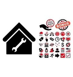 Repair Building Flat Icon with Bonus vector image vector image