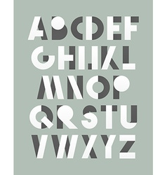 Retro font in white and grey White alphabet vector image vector image
