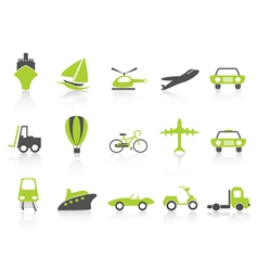 transportation icons nature green series vector image