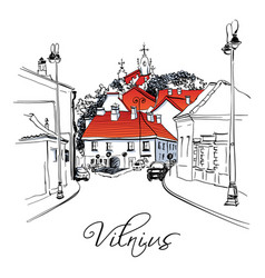 typical street in old town of vilnius lithuania vector image vector image