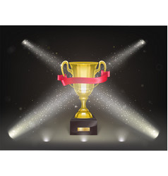 3d realistic shining golden cup on stage vector image