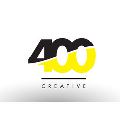 400 black and yellow number logo design vector
