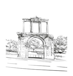Arch of hadrian athens greece europe vector