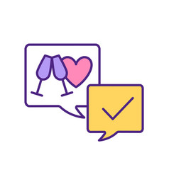 Arranging first date on dating app rgb color icon vector