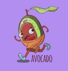 Avocado on run sport tropical fruit ill vector