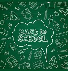 Back to school doodles in chalkboard background vector