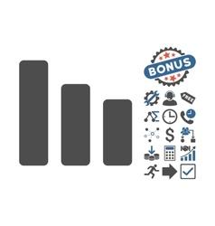 Bar chart decrease flat icon with bonus vector