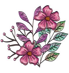Beautiful flowers and leafs decoration vector