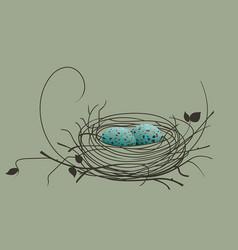 Bird eggs in the nest vector