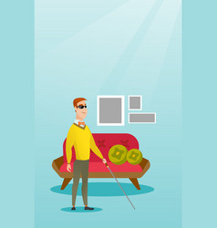 Blind man with a stick vector