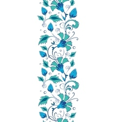Blue green swirly flowers vertical border vector