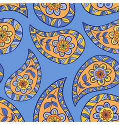 Blue paisley floral seamless pattern vector image