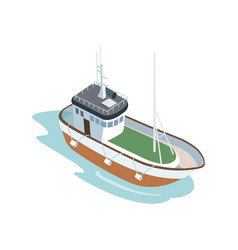 boat in ocean on white background vector image