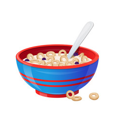 Breakfast with cereals natural berries and milk vector