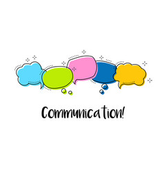bright color dialog speech bubbles with icons and vector image